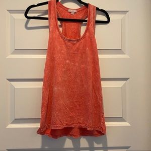 Red/Coral Dye/Bleach Effect Tank Top